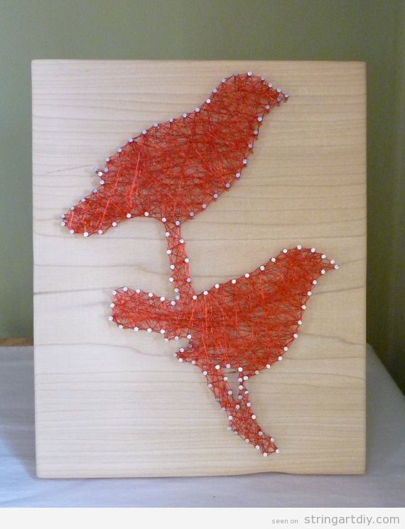 Love Bird String Art on wood