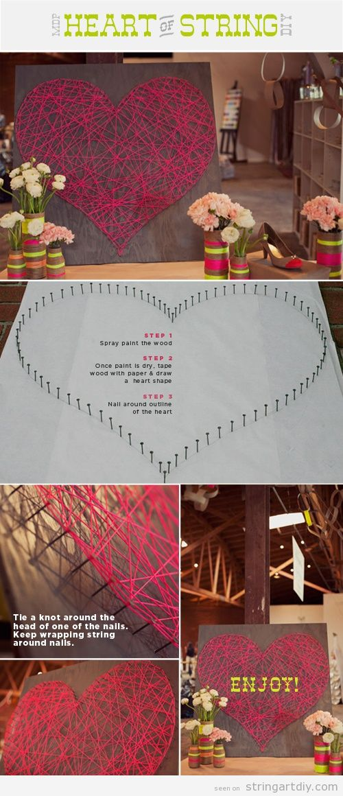 Heart Shaped String Art Tutorial Easy