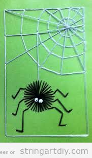 Halloween String Art with Kids, Spider and spiderweb