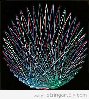Round shaped String Art, geometric colorful figure