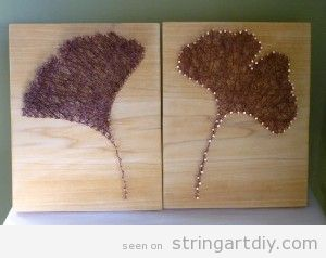 String Art Gingko leaves DIY