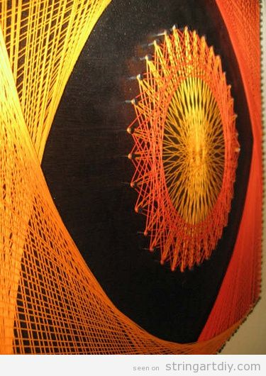String Wall Art in yellow and orange