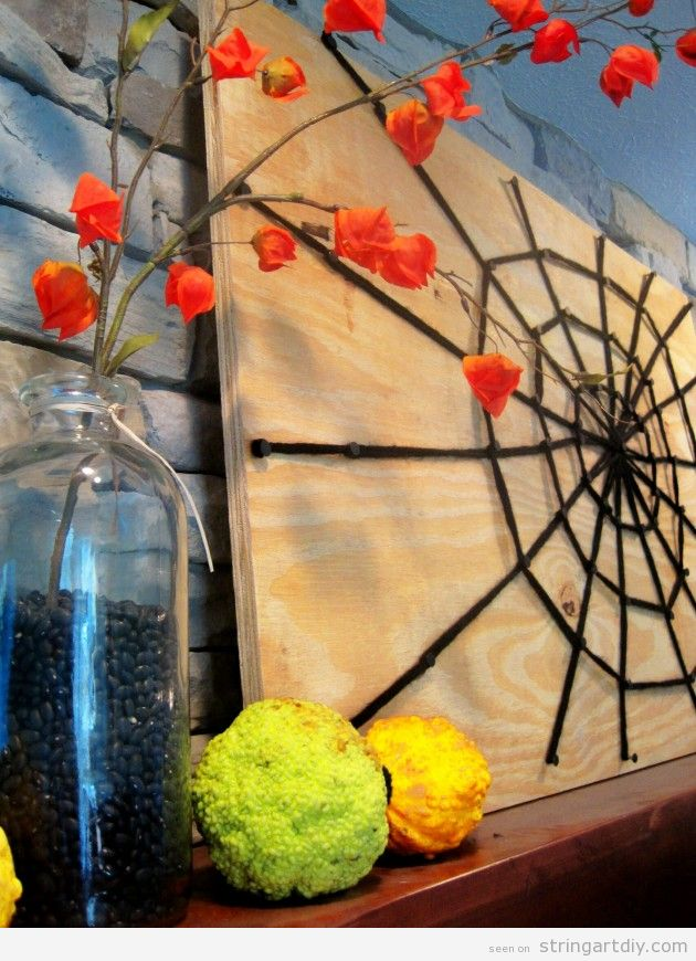 Spiderweb String Art for Halloween