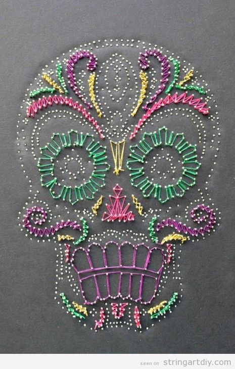 sugar skull string art death day  Sugar Skull String Art