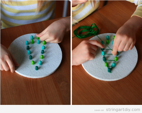 Simple Christmas Tree String Art for kids with pins