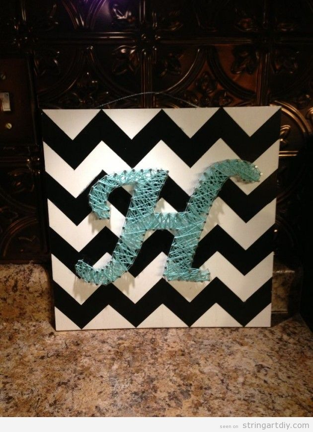 Letter H, String art DIY