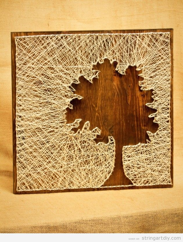 Tree silhouette String Art DIY | String Art DIY | Free patterns and ...