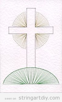 Cross on hill String Art free pattern to download