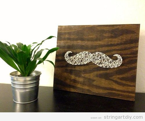 Nail and String Art, white moustache home decoration