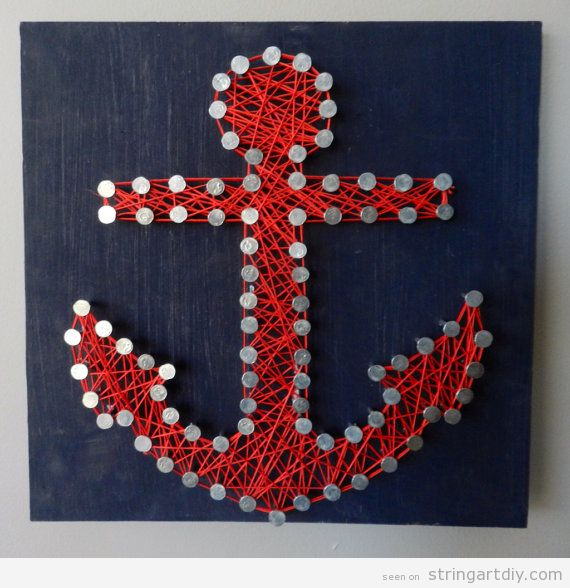 Anchor String Art, red and blue navy
