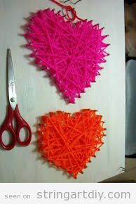 String Art craft for Valentine's Day, easy
