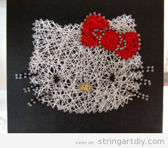 hello kitty string art diy Hello Kitty String Art DIY