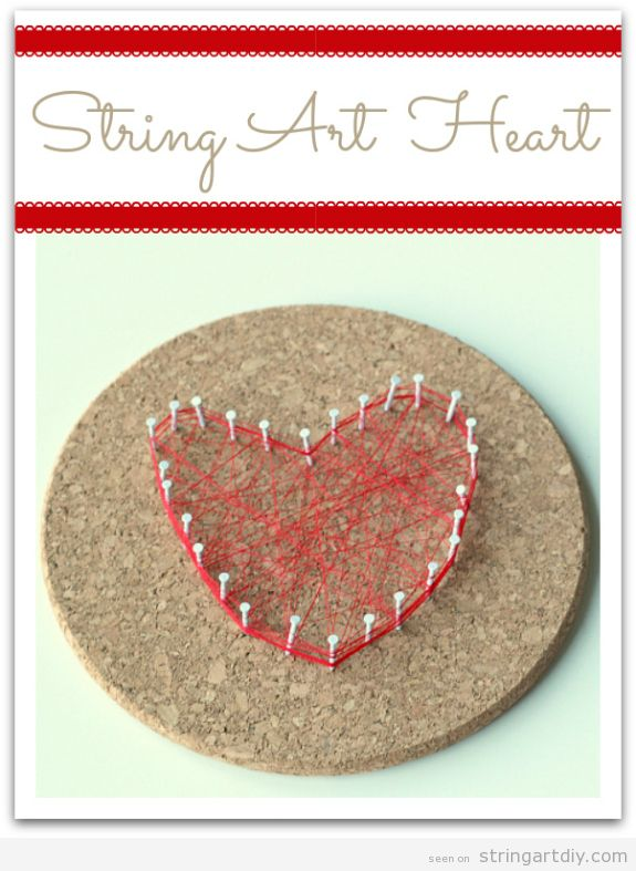 String Art Heart, craft for kids Valentine's Day