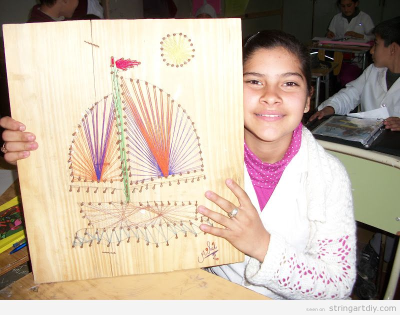 String Art ideas for kids, ship sailing the seas