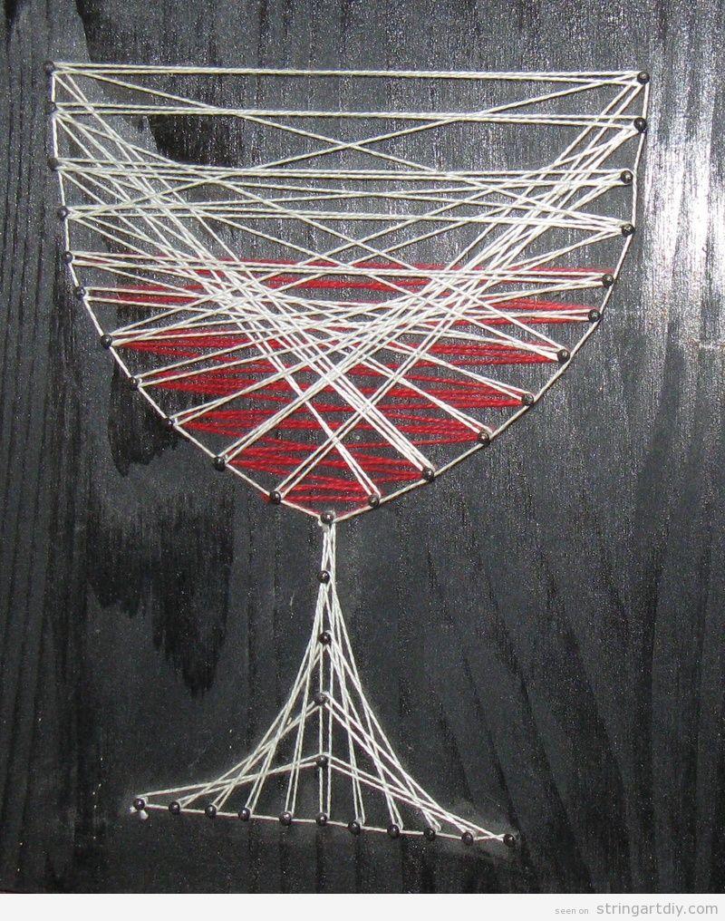 String Art Wine Glass, bodega decoration
