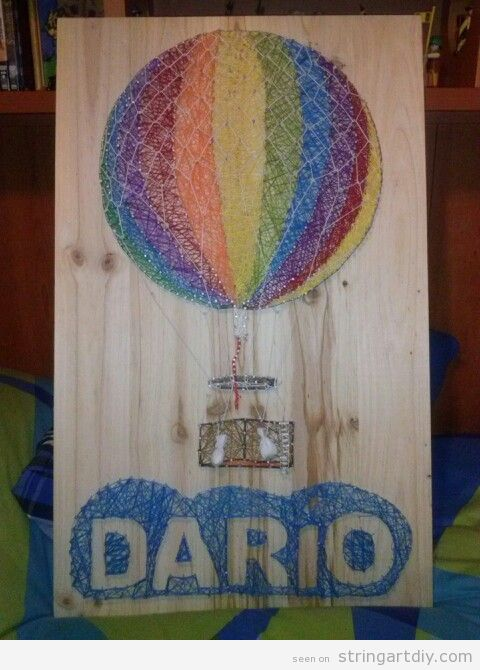Hot Air Balloon and Dario name String Art