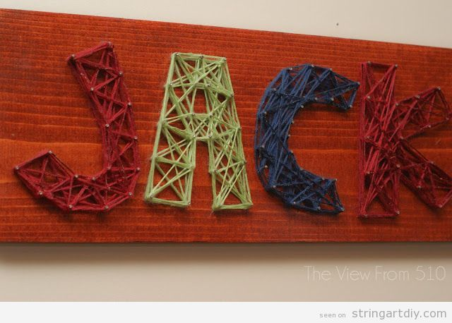 Jack name String Art DIY, kids bedroom