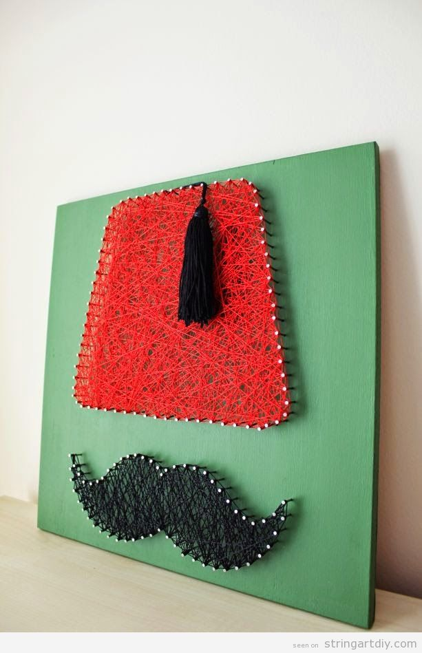 String Art DIY, morocco and moustache hat