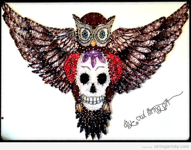 String Art owl and skull