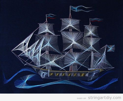 string art ship Peaceful century Russia Sailing Ship String Art