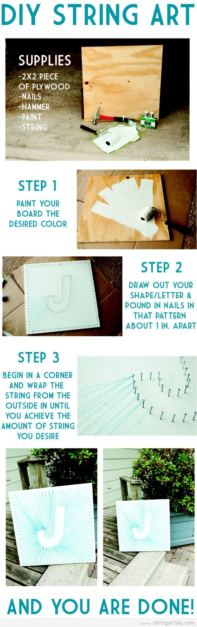 """J"" letter String Art DIY, tutorial"