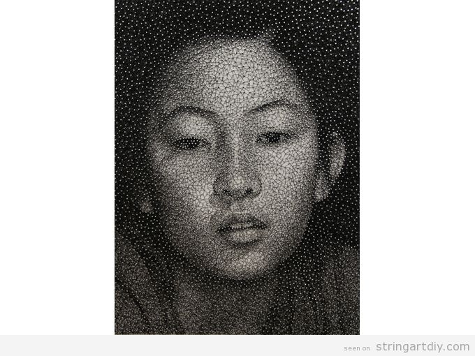 string art portraits by kumi yamashita 2 Incredible String Art Portraits by  Kumi Yamashita