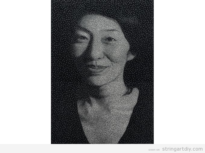 string art portraits thread kumi yamashita Incredible String Art Portraits by  Kumi Yamashita