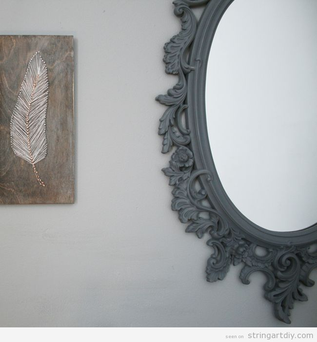 feather string art decoration ideas 3 Feather String Art to decorate a wall