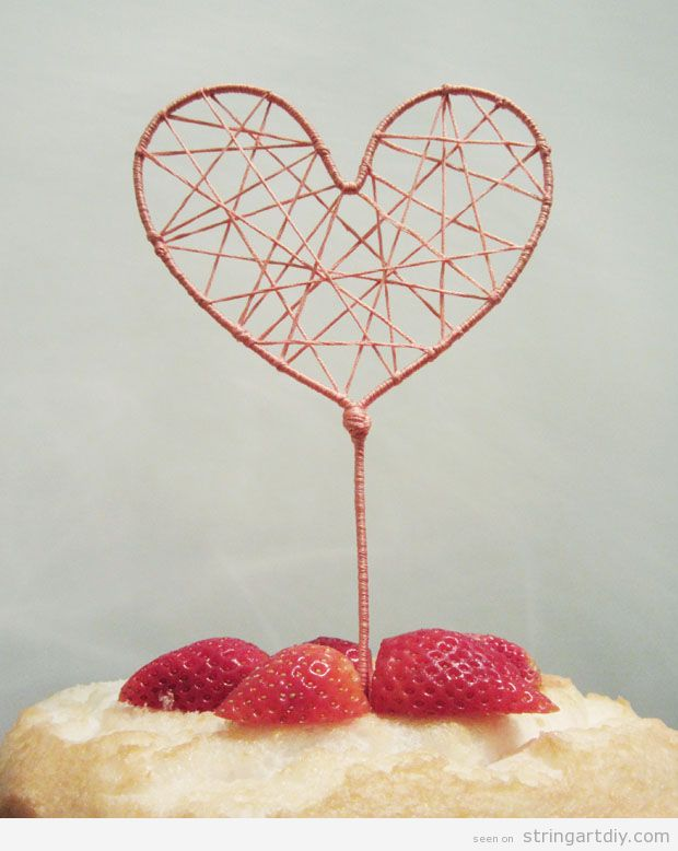 Heart String Art Cake Topper