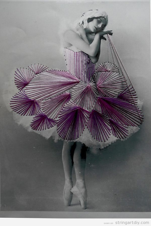 Vintage Ballerina Photos and String art by Jose Romussi