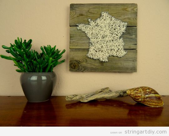 Rustic decoration, France map String Art