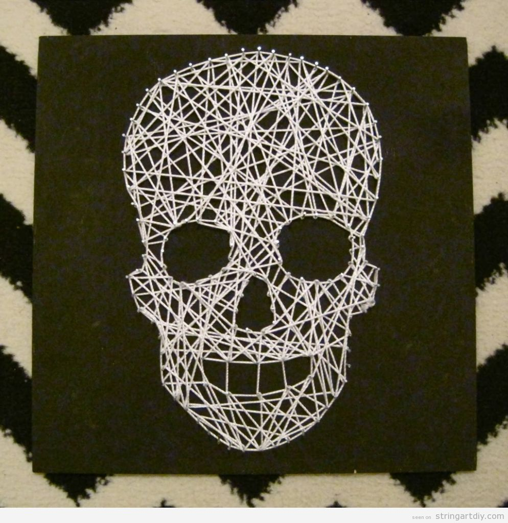 Skull String Art DIy for Halloween