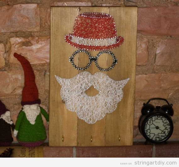 Hipster Santa Claus String Art