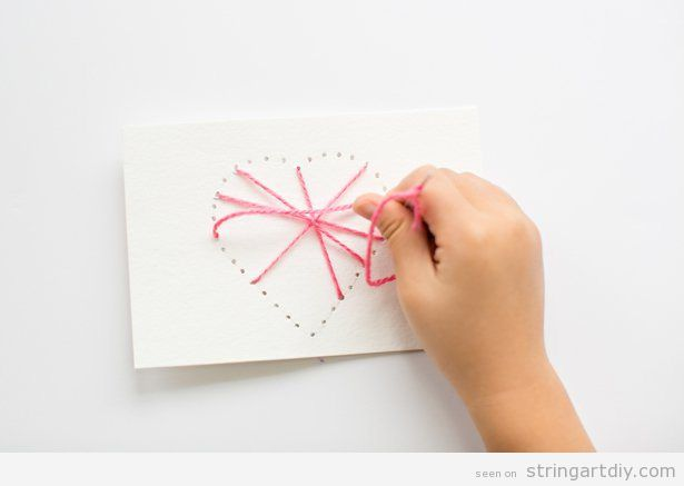 Heart String Art cardboard to make with kids