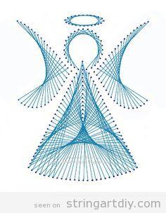 String Art angel DIY on paper