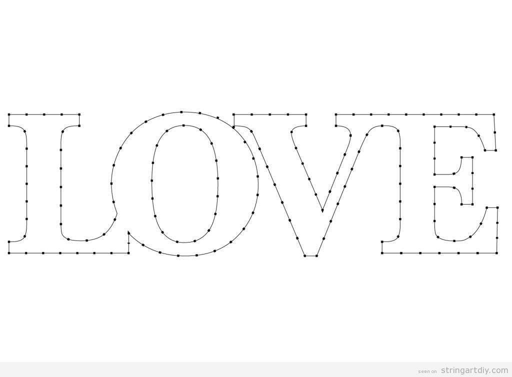 Word LOVE String Art template