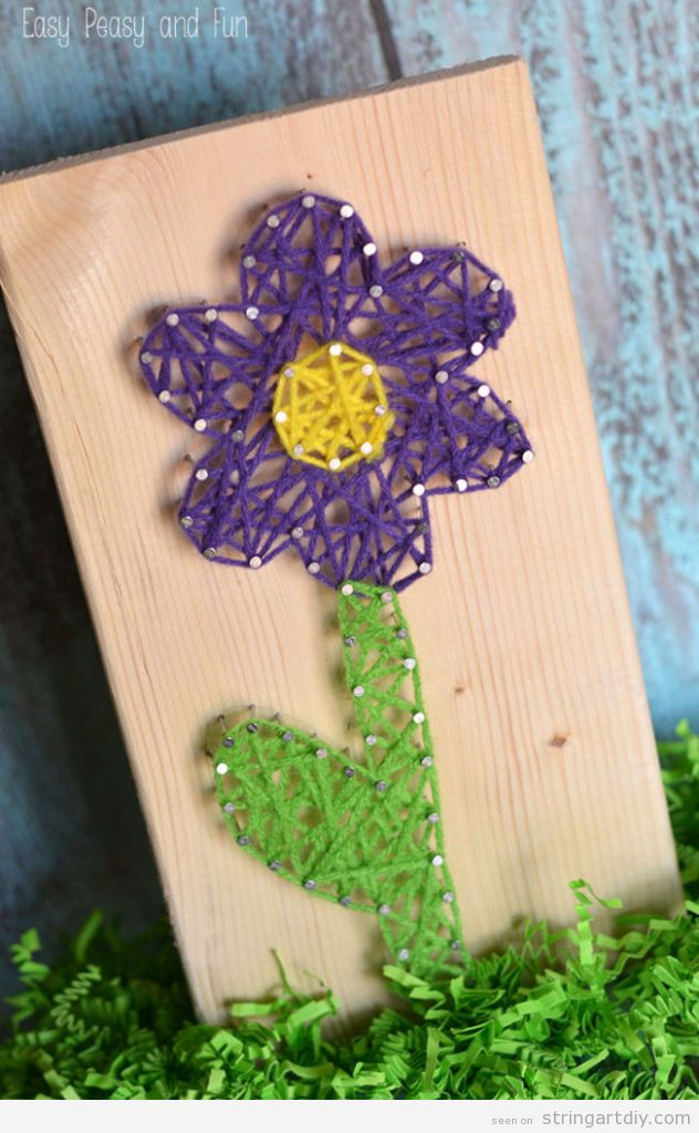 Easy Flower String Art for kids