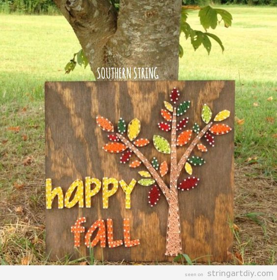Autumn tree string art, happy fall