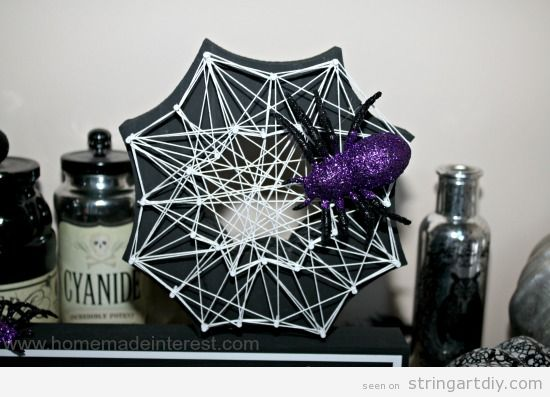 Spider web String Art DIY