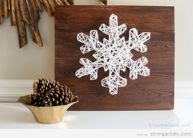 Snowflake String Art DIY tutorial
