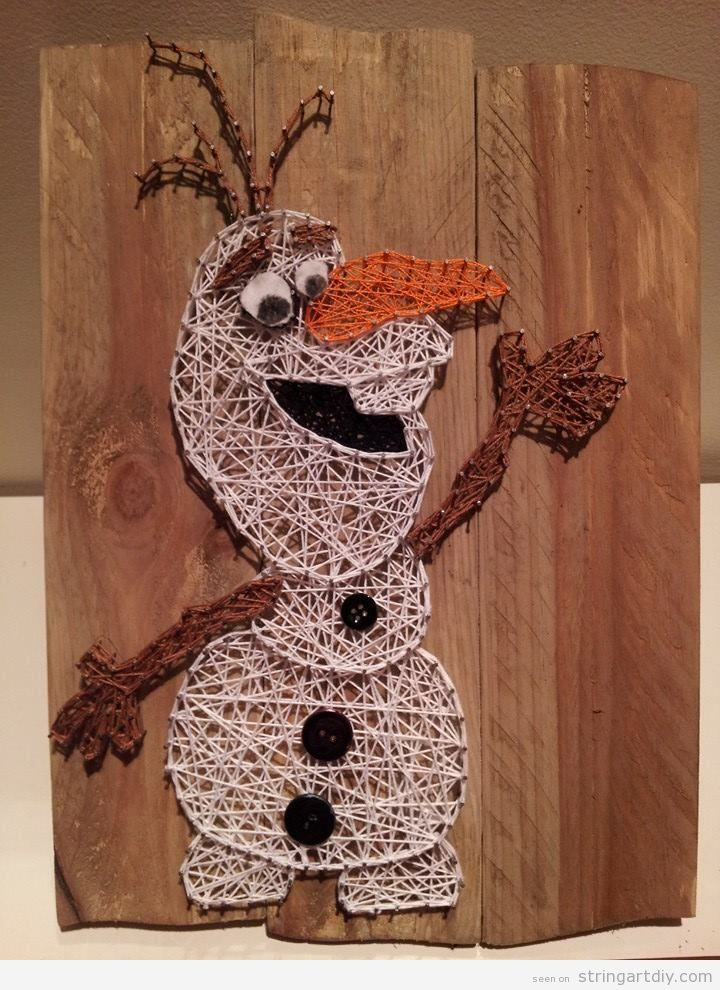 Olaf from Frozen String Art DIY