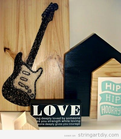 Electric Guitar String Art DIY, step 5