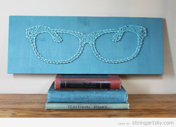 Blue background Glasses String Art DIY