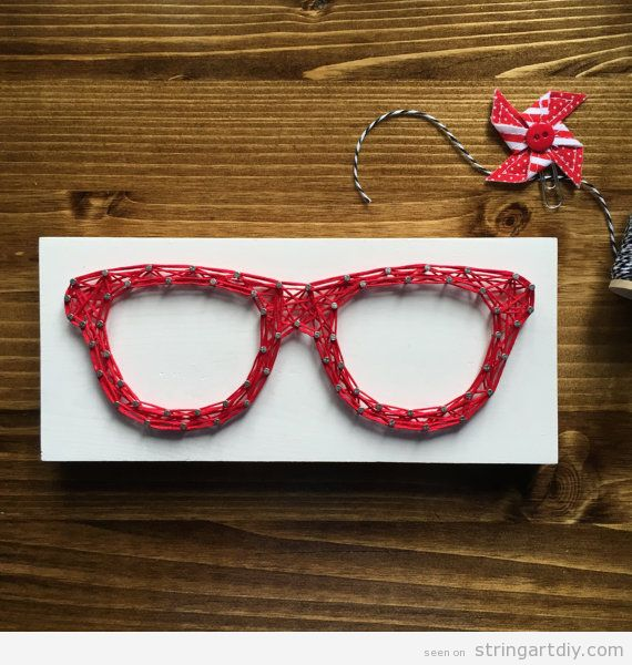 Red Glasses String Art DIY