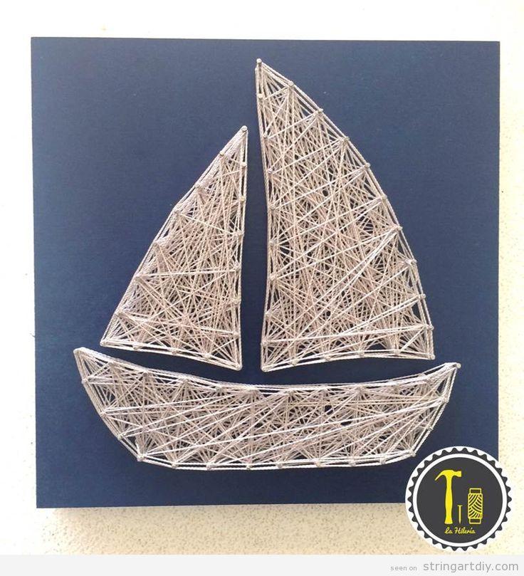 String Art decorate kids bedroom, sailing boat