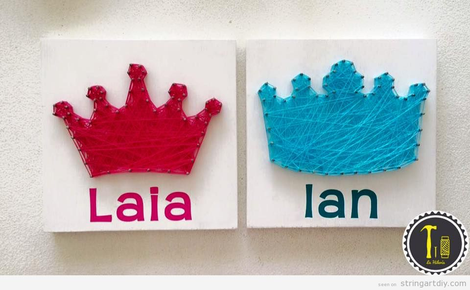 String Art decorate kids bedroom, crowns and names