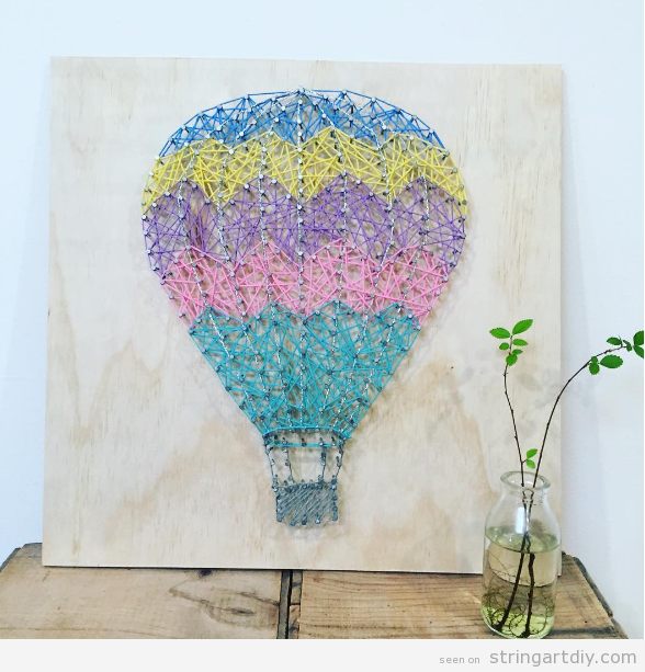 Hot air balloon string art zig-zag print