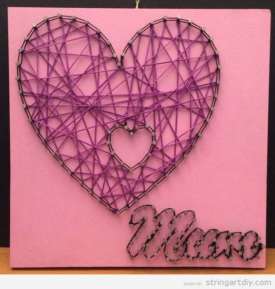 Mother's Day String Art, heart and word mum