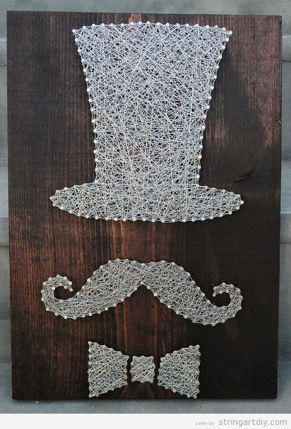 Top hat, moustache and bowtie String Art DIY