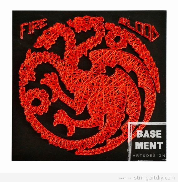 Game of Thrones String Art, house Targaryen